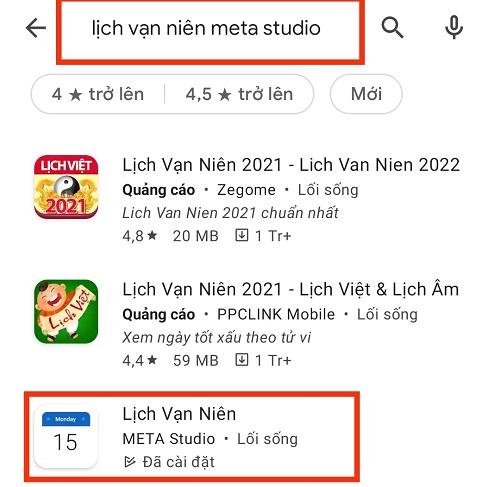 tải lịch vạn niên cho điện thoại Xiaomi từ Google Play